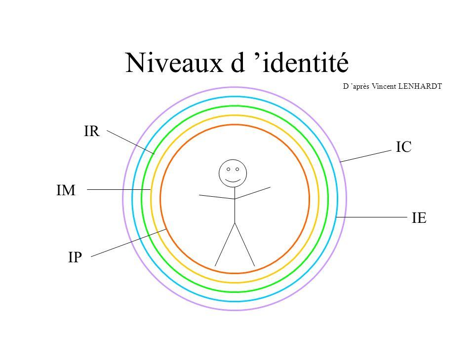 Niveaux d 'identité IR IC IM IE IP D 'après Vincent LENHARDT