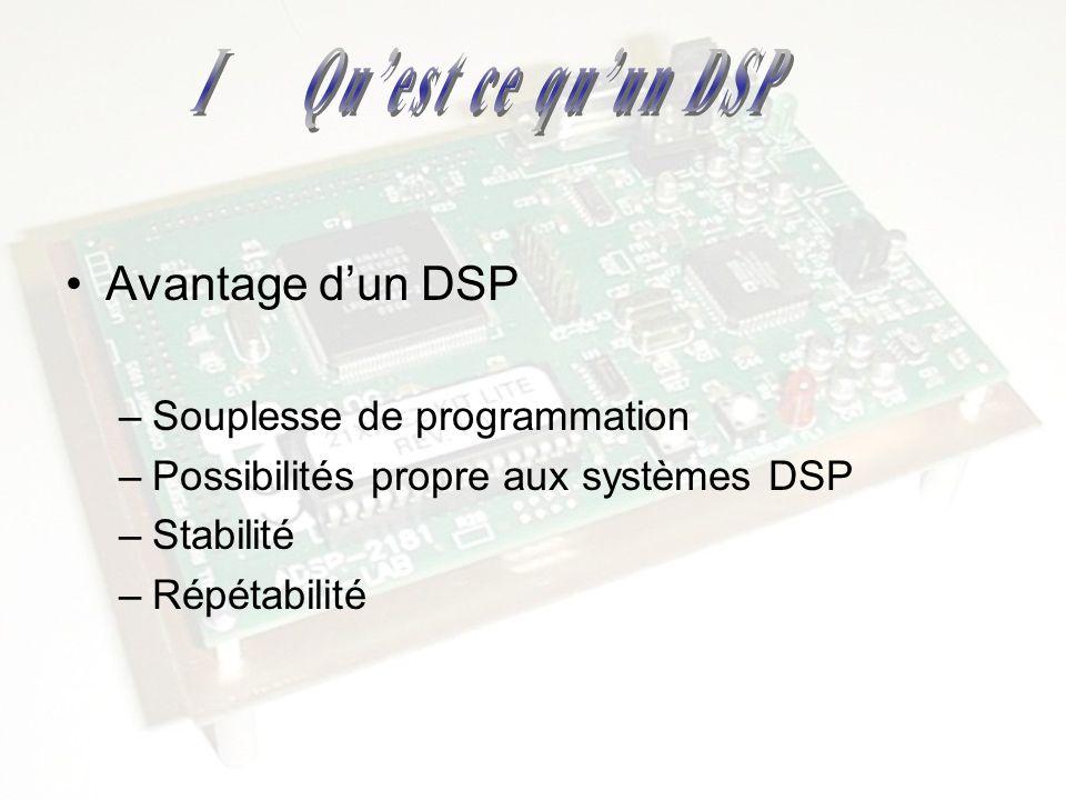 I Qu'est ce qu'un DSP Avantage d'un DSP Souplesse de programmation