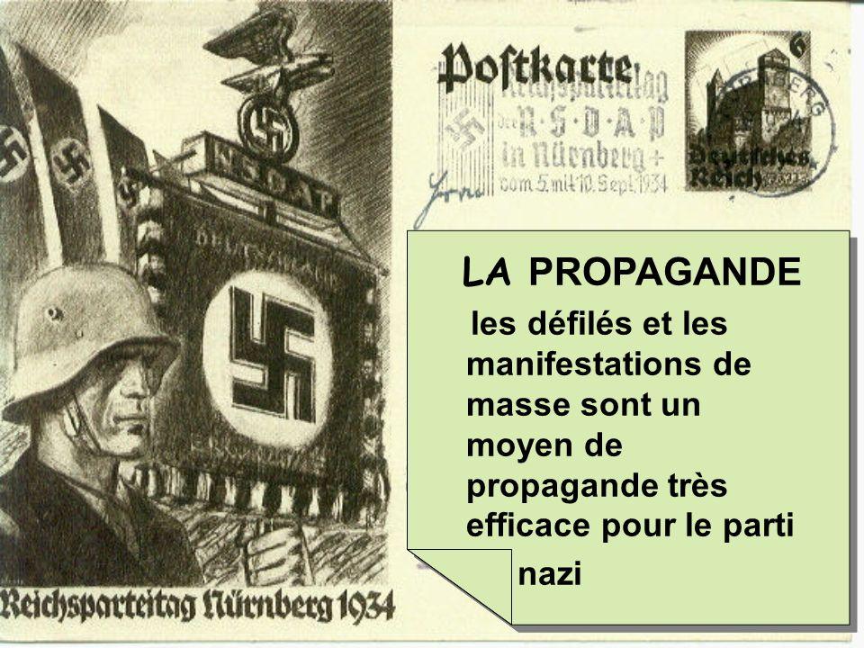 LA PROPAGANDE les défilés et les manifestations de masse sont un moyen de propagande très efficace pour le parti.