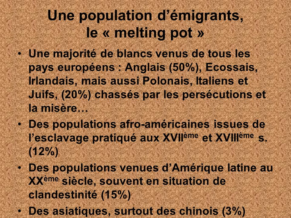 Une population d'émigrants, le « melting pot »