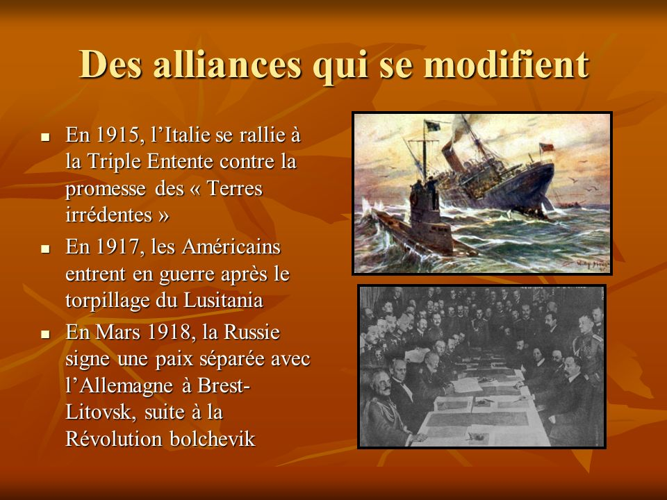 Des alliances qui se modifient