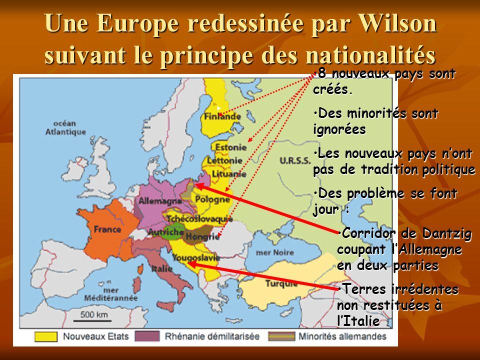 Une Europe redessinée par Wilson suivant le principe des nationalités