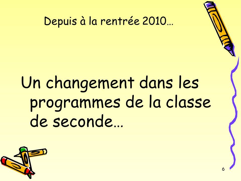 Un changement dans les programmes de la classe de seconde…