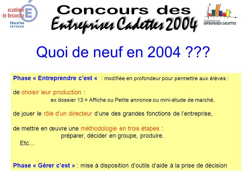Quoi de neuf en 2004 Concours des Entreprises Cadettes 2004