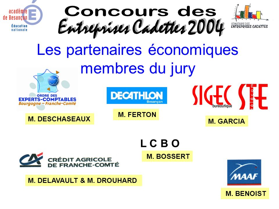 Les partenaires économiques membres du jury