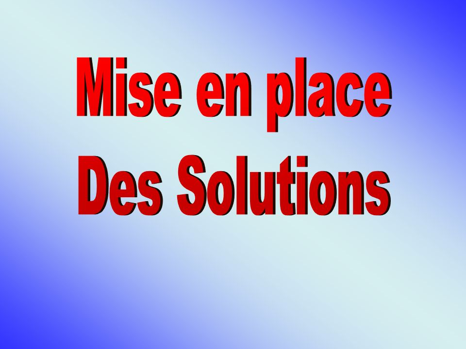 Mise en place Des Solutions