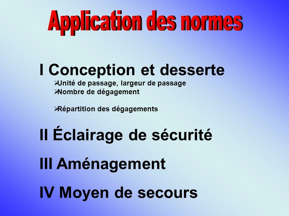 Application des normes