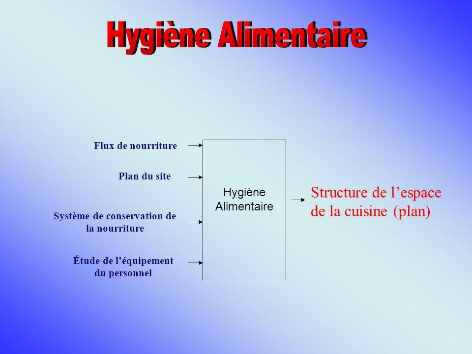 Hygiène Alimentaire Structure de l'espace de la cuisine (plan)