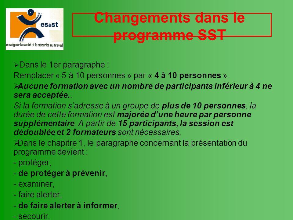 Changements dans le programme SST