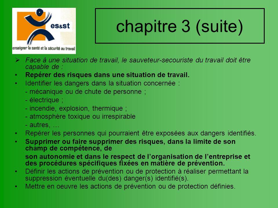 chapitre 3 (suite) Face à une situation de travail, le sauveteur-secouriste du travail doit être capable de :