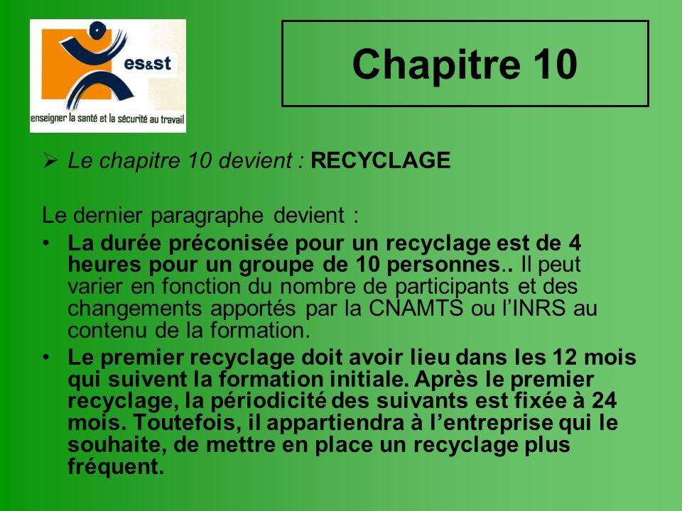 Chapitre 10 Le chapitre 10 devient : RECYCLAGE