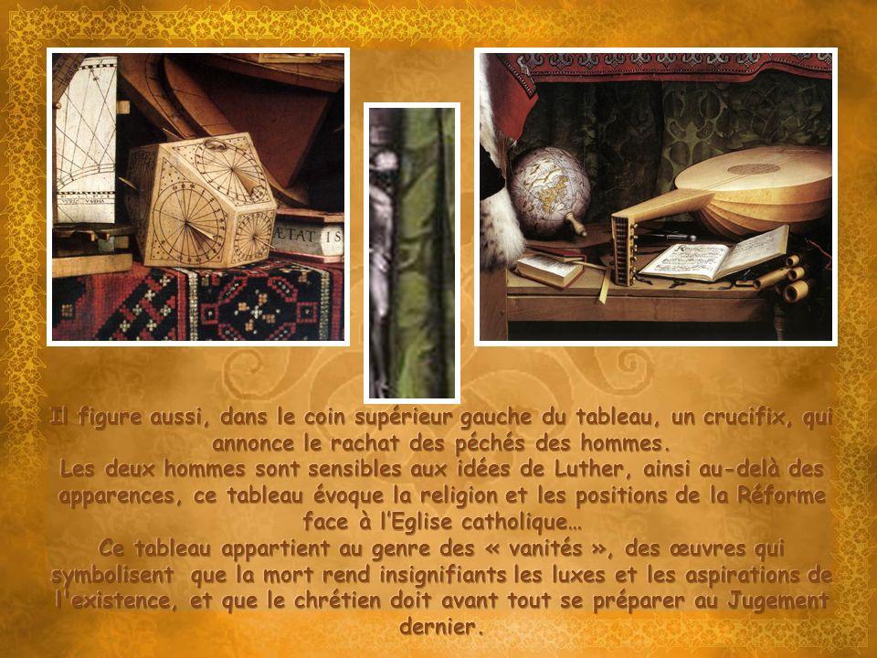 Il figure aussi, dans le coin supérieur gauche du tableau, un crucifix, qui annonce le rachat des péchés des hommes.