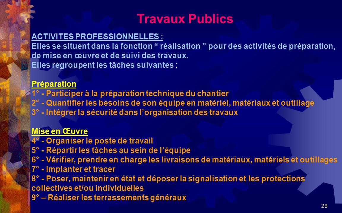 Travaux Publics ACTIVITES PROFESSIONNELLES :