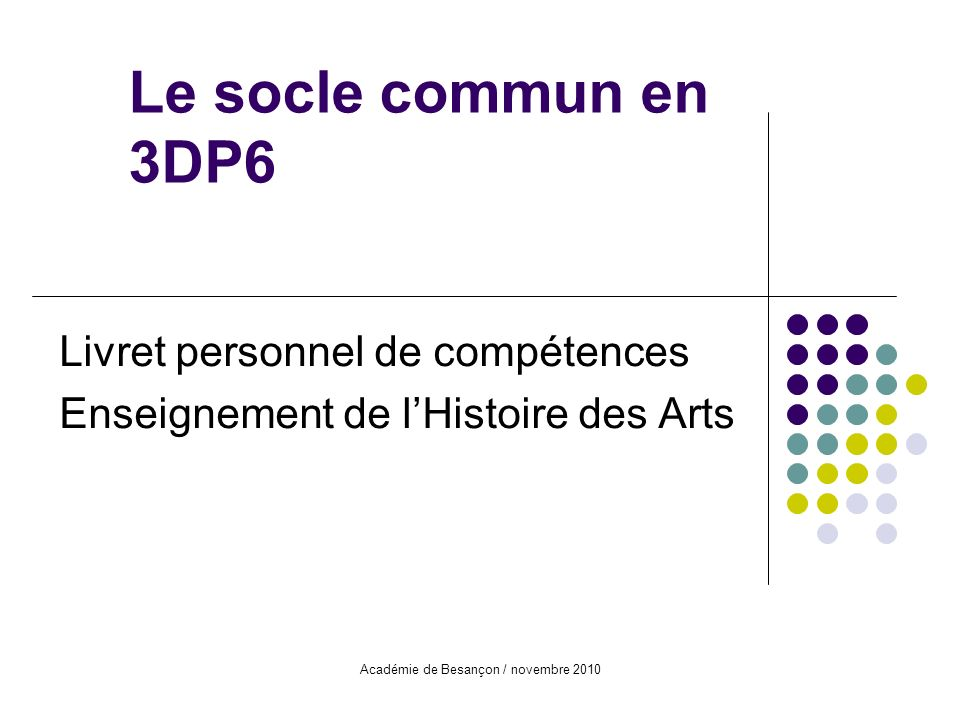 Livret personnel de compétences Enseignement de l'Histoire des Arts