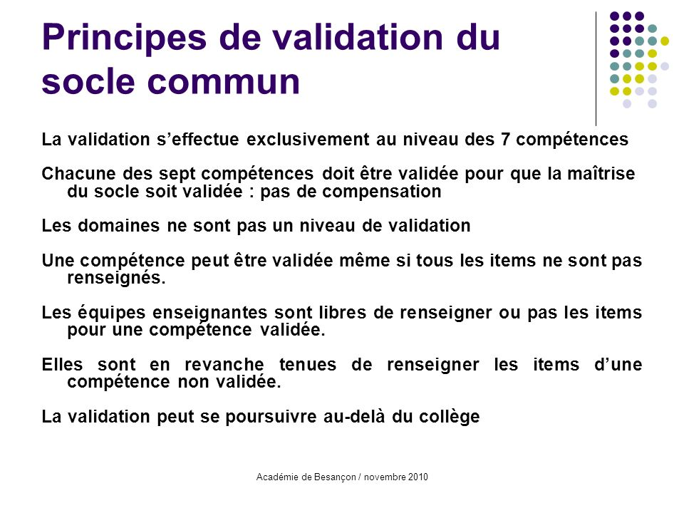 Principes de validation du socle commun
