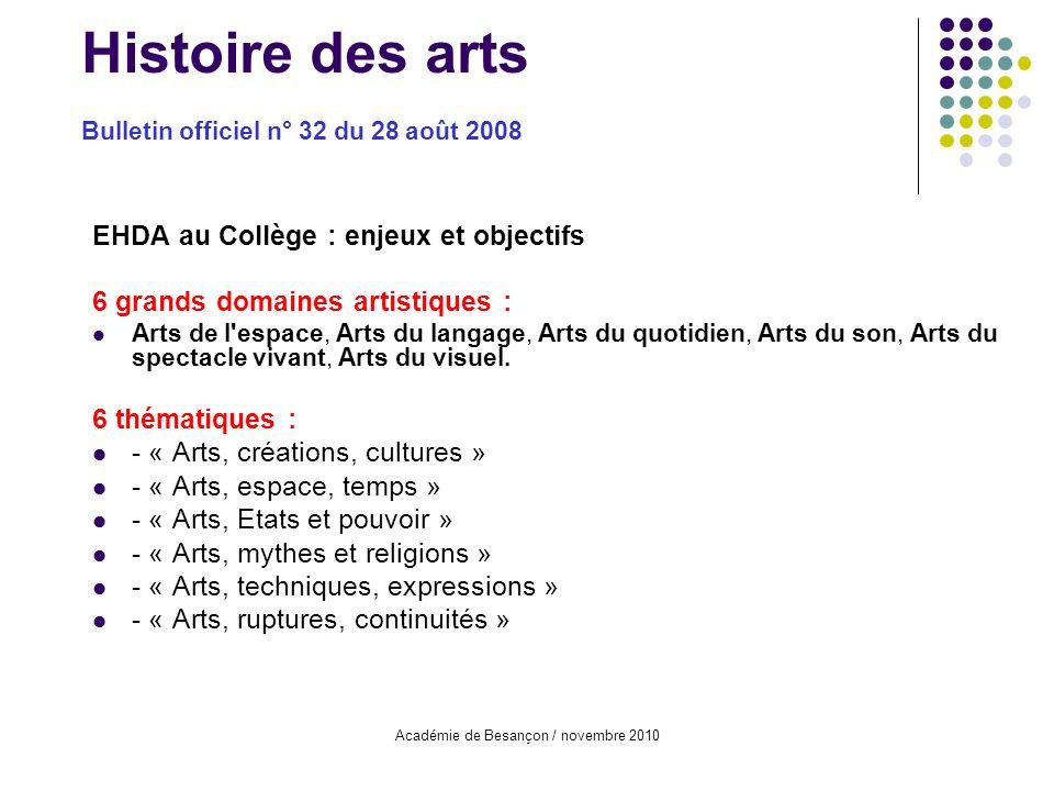 Histoire des arts Bulletin officiel n° 32 du 28 août 2008
