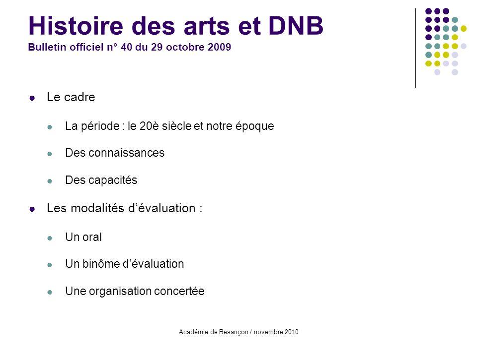 Histoire des arts et DNB Bulletin officiel n° 40 du 29 octobre 2009