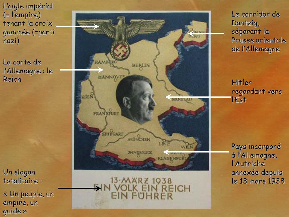 L'aigle impérial (= l'empire) tenant la croix gammée (=parti nazi)