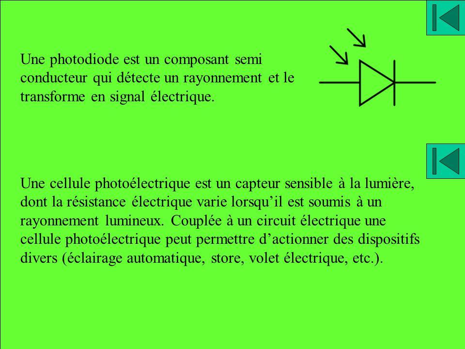 Une photodiode est un composant semi conducteur qui détecte un rayonnement et le transforme en signal électrique.