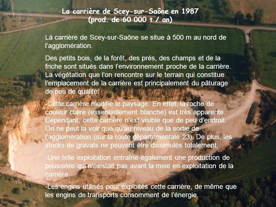 La carrière de Scey-sur-Saône en 1987 (prod. de 60 000 t / an)