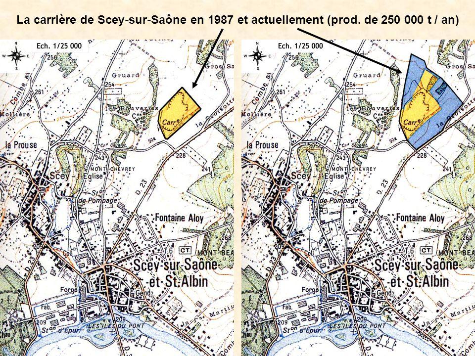 La carrière de Scey-sur-Saône en 1987 et actuellement (prod