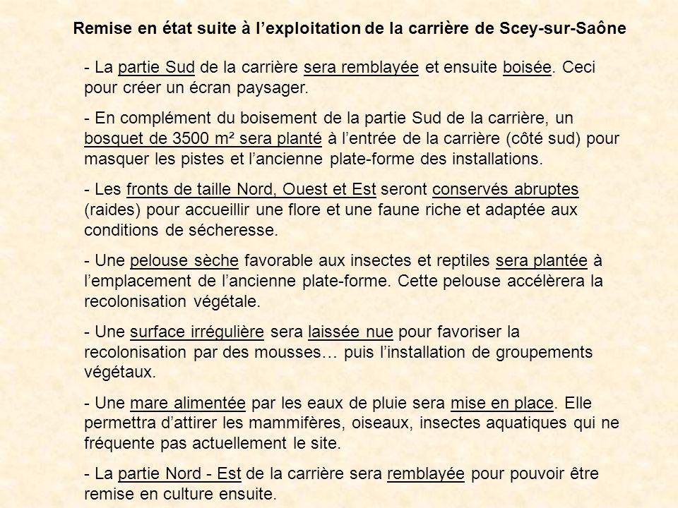 Remise en état suite à l'exploitation de la carrière de Scey-sur-Saône