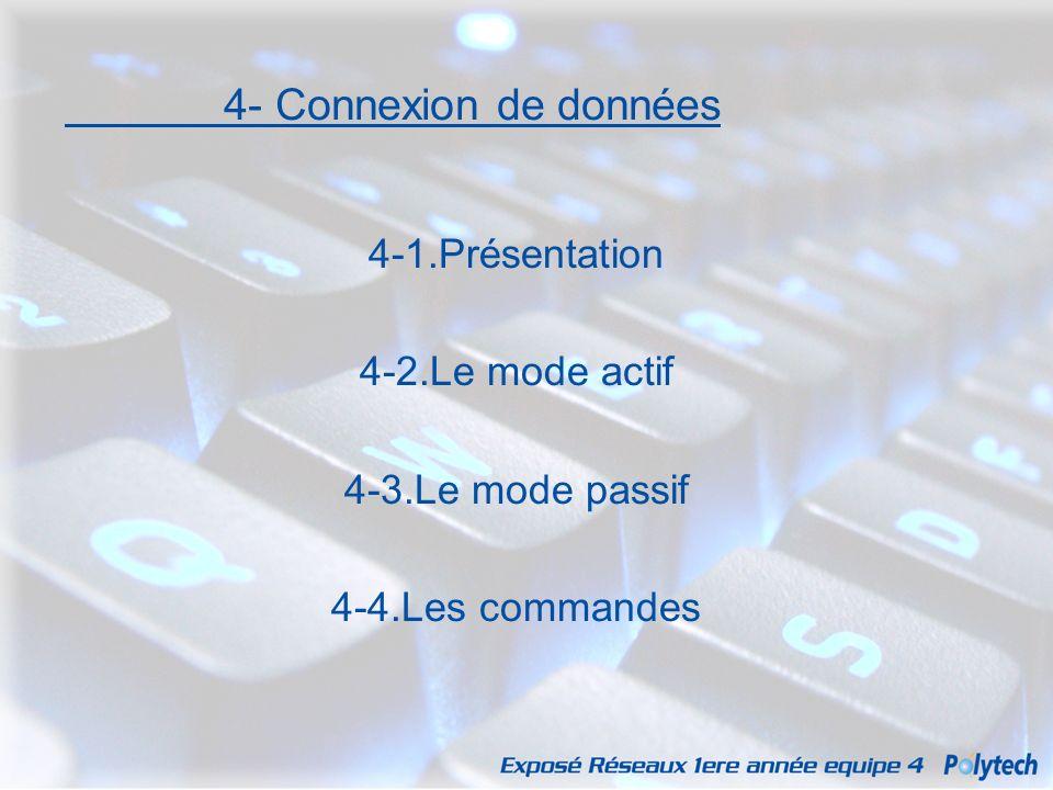 4- Connexion de données 4-1.Présentation 4-2.Le mode actif