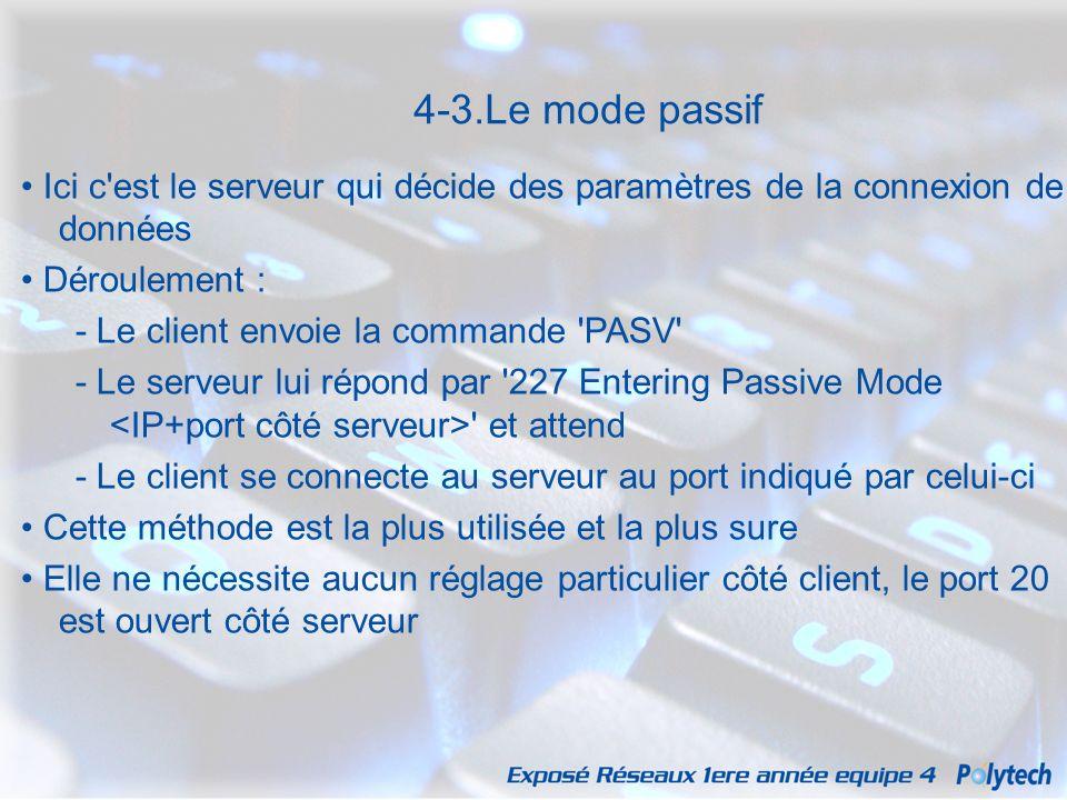 4-3.Le mode passif • Ici c est le serveur qui décide des paramètres de la connexion de données. • Déroulement :