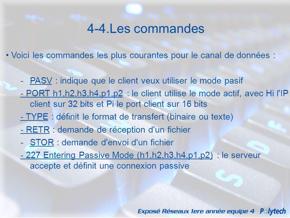 4-4.Les commandes • Voici les commandes les plus courantes pour le canal de données : PASV : indique que le client veux utiliser le mode pasif.
