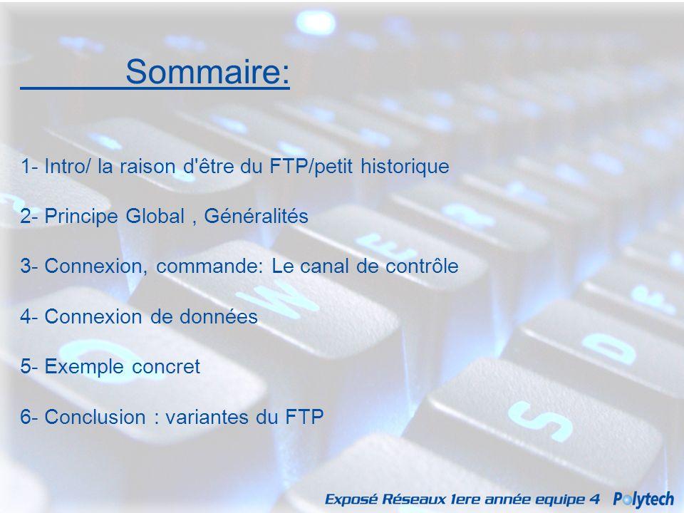 Sommaire: 1- Intro/ la raison d être du FTP/petit historique
