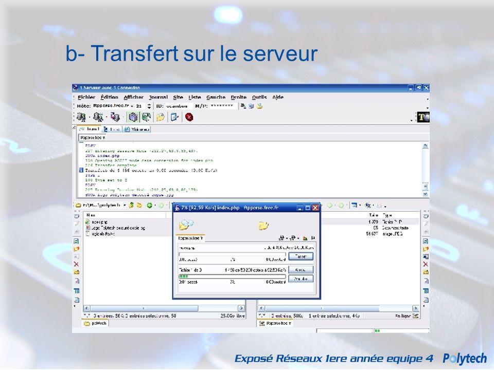 b- Transfert sur le serveur