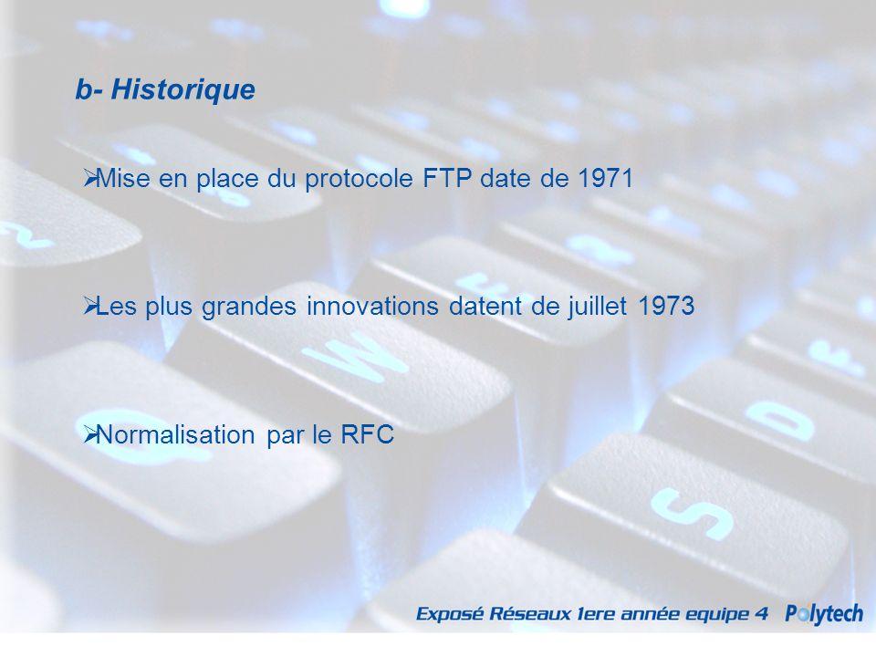 b- Historique Mise en place du protocole FTP date de 1971