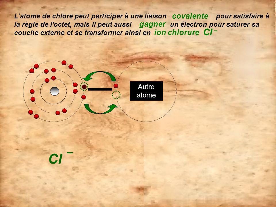 Cl – covalente gagner ion chlorure Cl –