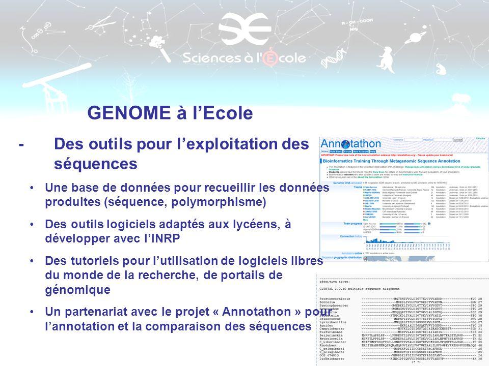 GENOME à l'Ecole - Des outils pour l'exploitation des séquences