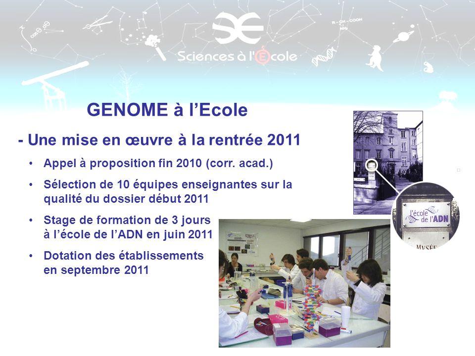 GENOME à l'Ecole - Une mise en œuvre à la rentrée 2011