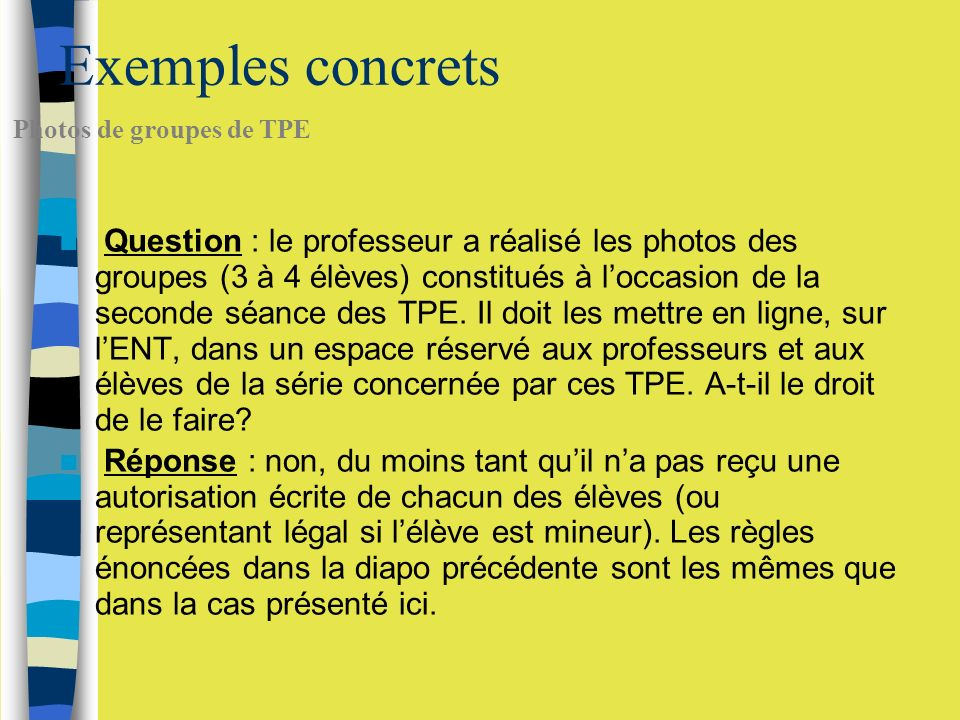 Exemples concrets Photos de groupes de TPE.
