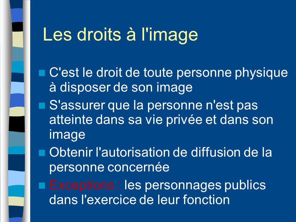 Les droits à l image C est le droit de toute personne physique à disposer de son image.