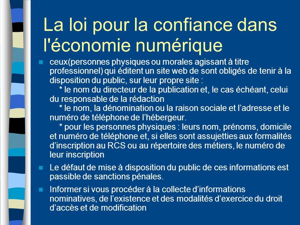 La loi pour la confiance dans l économie numérique