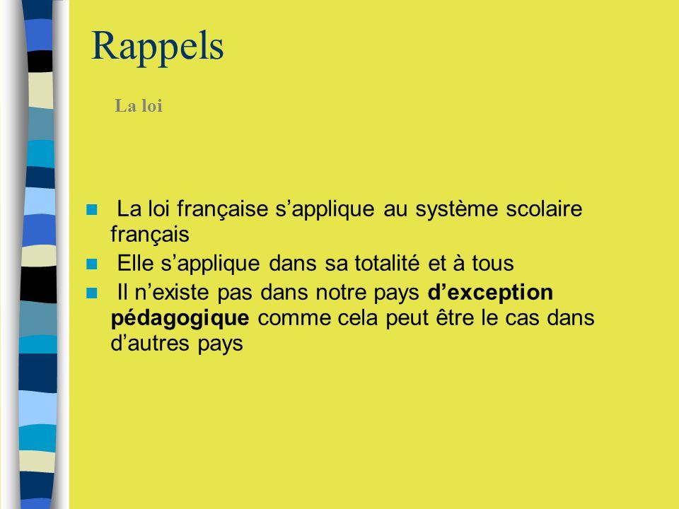 Rappels La loi française s'applique au système scolaire français