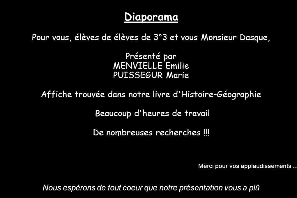 Diaporama Pour vous, élèves de élèves de 3°3 et vous Monsieur Dasque, Présenté par. MENVIELLE Emilie.