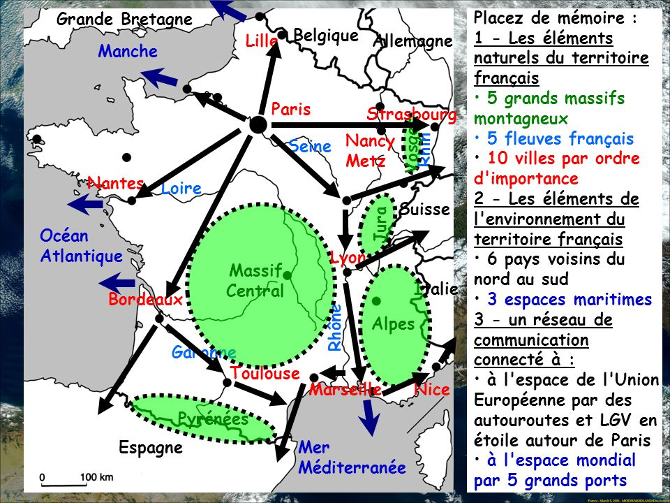 Grande BretagnePlacez de mémoire : 1 - Les éléments naturels du territoire français. 5 grands massifs montagneux.