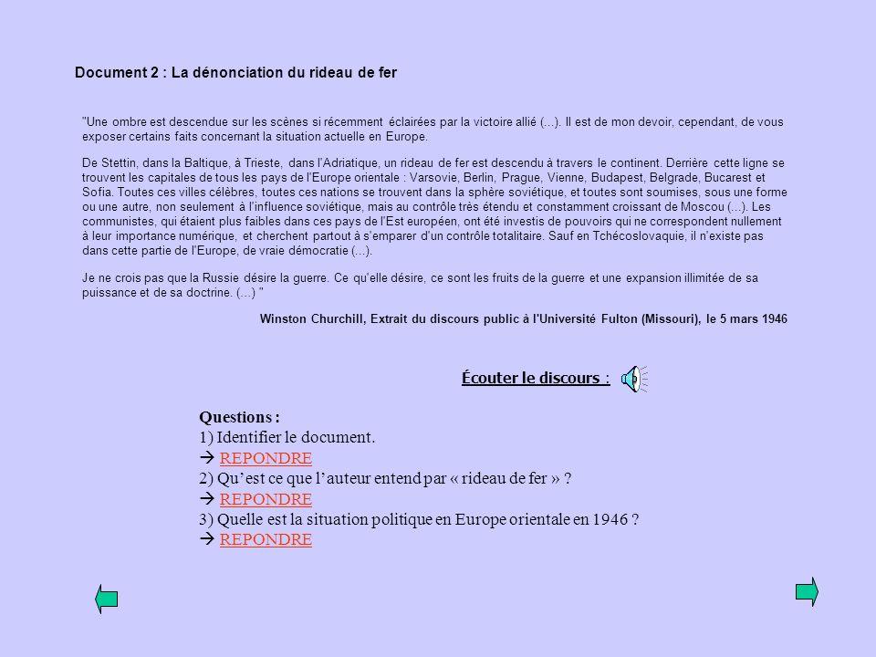 1) Identifier le document.  REPONDRE