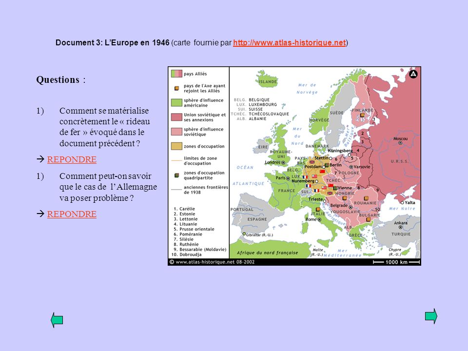 Document 3: L'Europe en 1946 (carte fournie par http://www