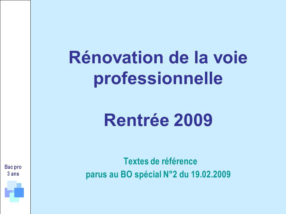 Rénovation de la voie professionnelle Rentrée 2009 Textes de référence parus au BO spécial N°2 du 19.02.2009