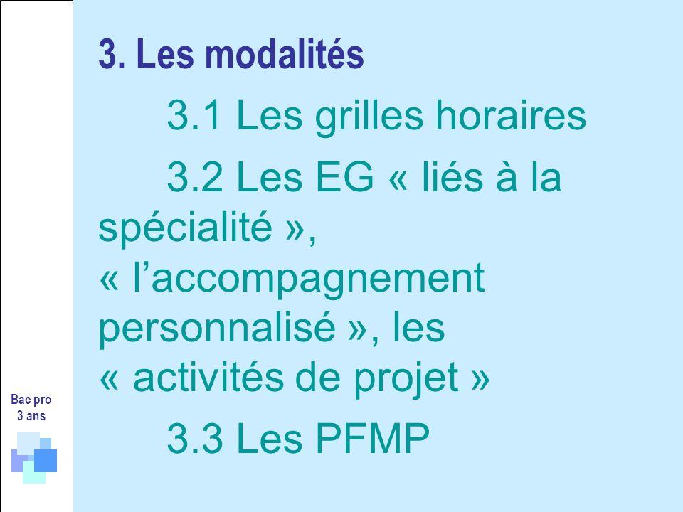 3. Les modalités. 3. 1 Les grilles horaires. 3