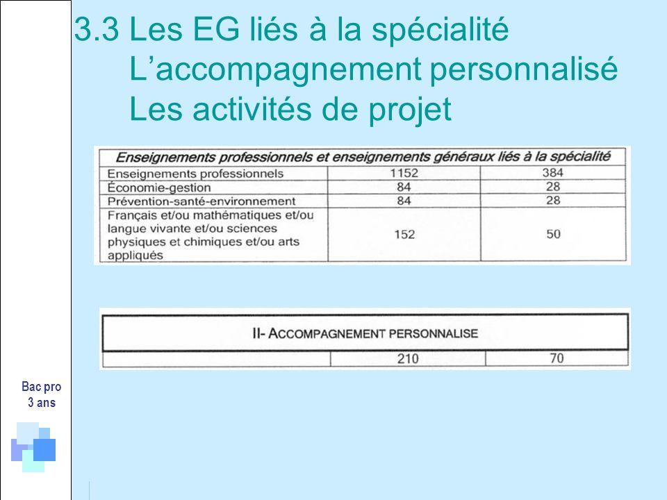 3.3 Les EG liés à la spécialité L'accompagnement personnalisé Les activités de projet