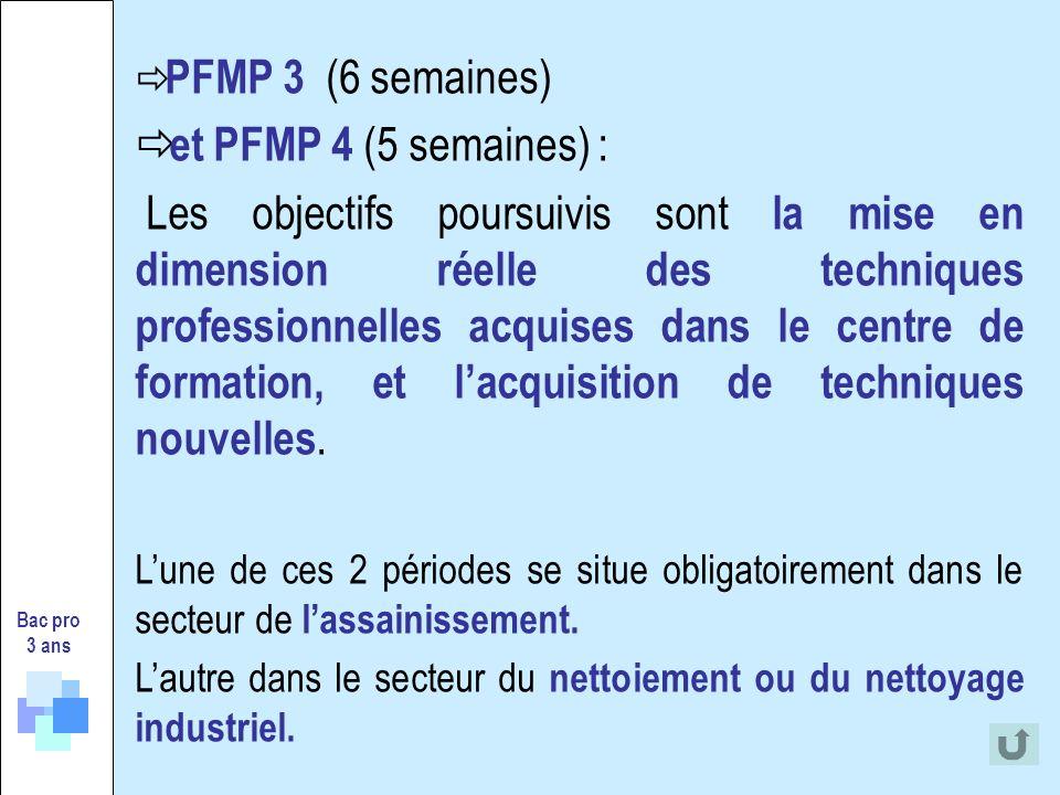PFMP 3 (6 semaines) et PFMP 4 (5 semaines) :