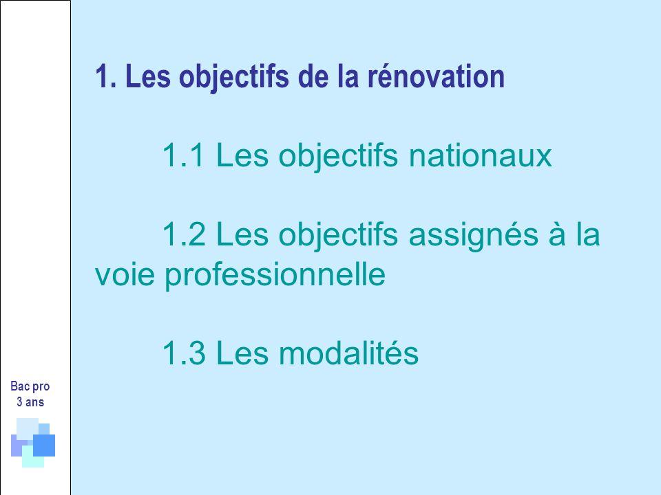 1. Les objectifs de la rénovation 1.1 Les objectifs nationaux