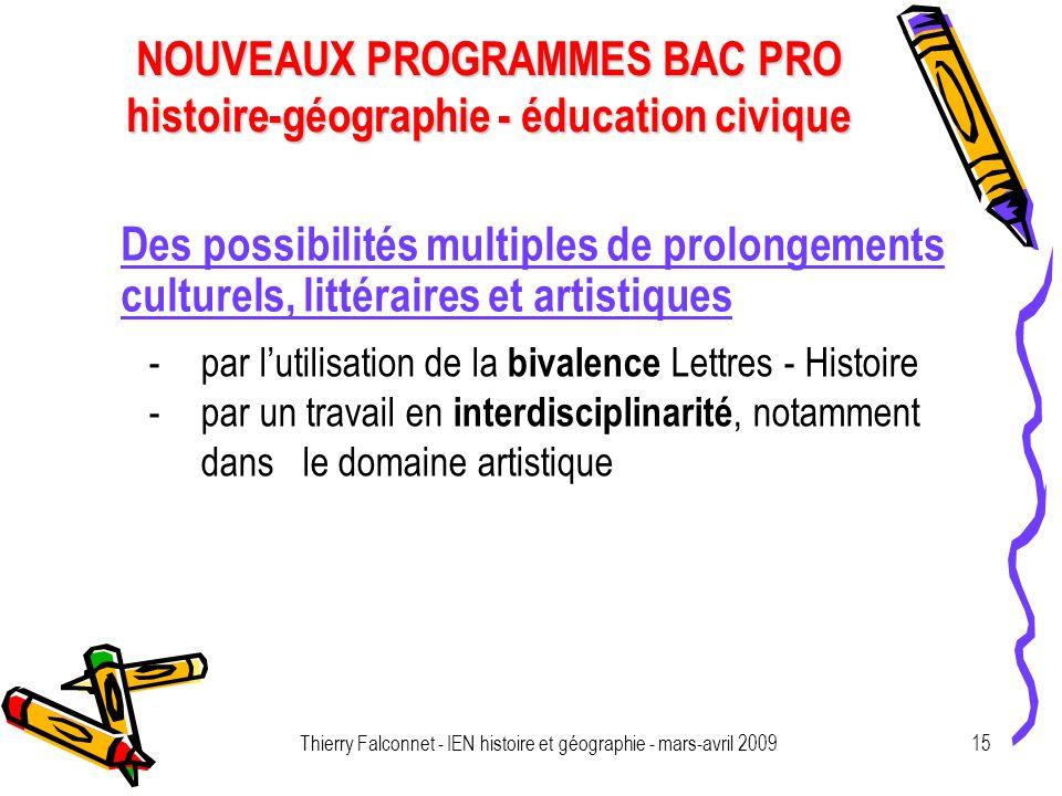 Thierry Falconnet - IEN histoire et géographie - mars-avril 2009