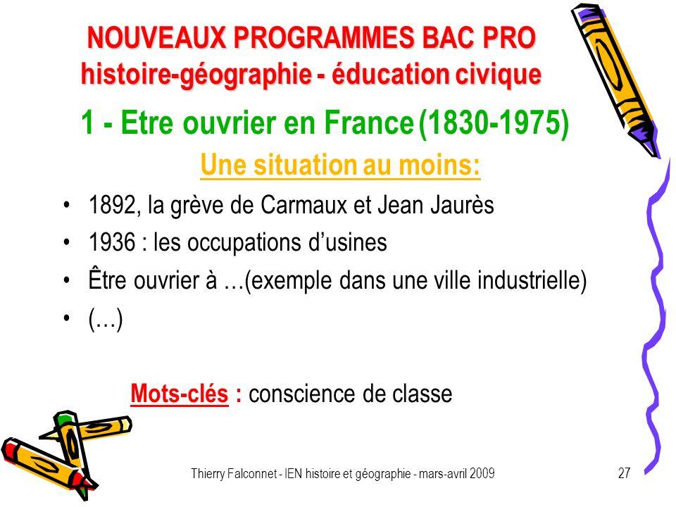 1 - Etre ouvrier en France (1830-1975)